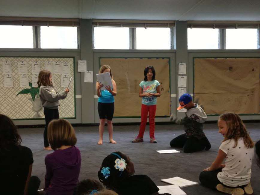 Circle of kids running through a script at Narnia rehearsal